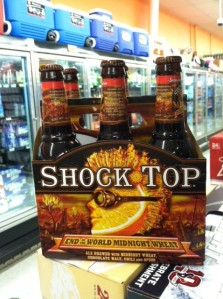 Shock Top's End of the World Midnight Wheat is easy to find at stores like HEB.