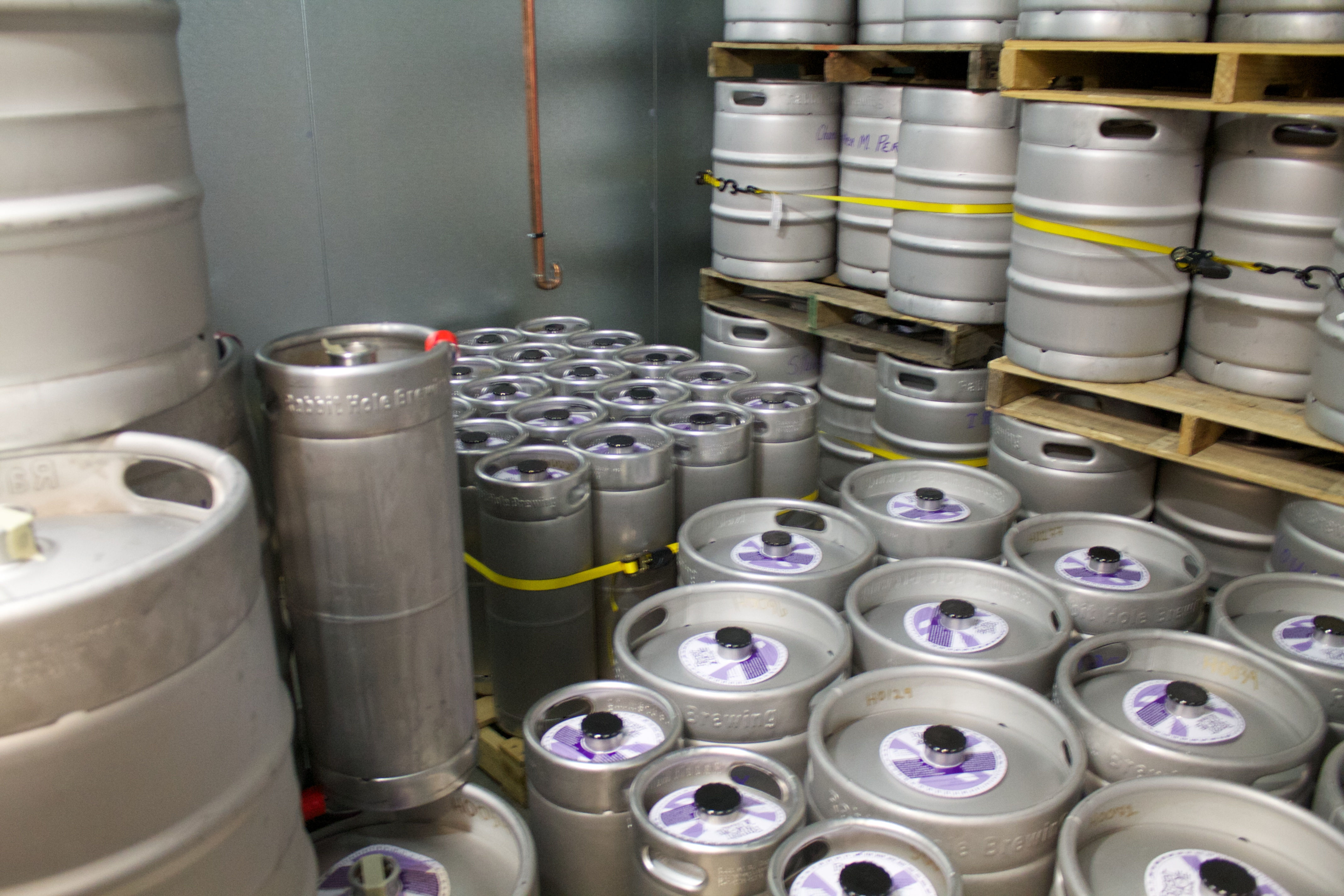 A refrigerated room full of kegs at Rabbit Hole Brewing in Justin,Texas.