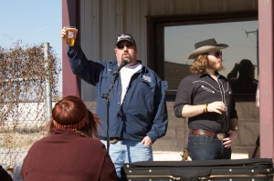 Rabbit Hole Brewing founder Laron Cheek raises his beer after greeting the crowd Jan. 18, 2014.