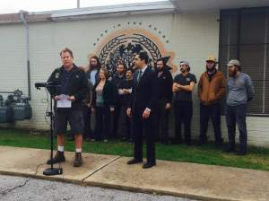 Chip McElroy speaking at a press conference at Live Oak Brewing in Austin, TX on an upcoming lawsuit concerning distributor rights.
