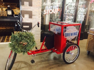 The Whole Foods brewery has a keg bike that employees will take around the store, offering free samples of the beer to shoppers.